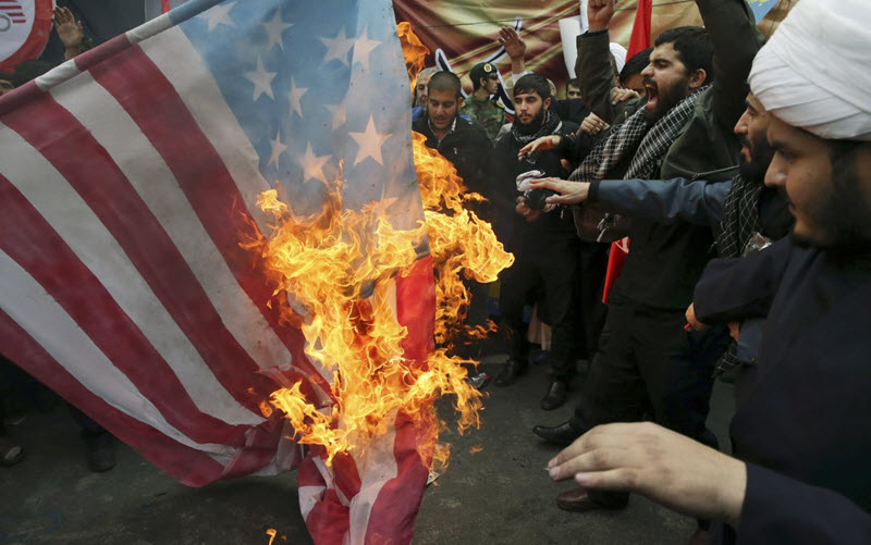 The burning of the American flag in Iran