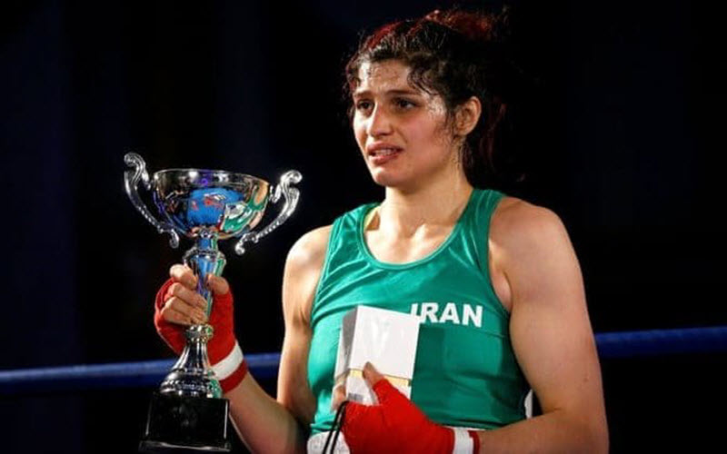 The first Iranian woman to compete in an official boxing match