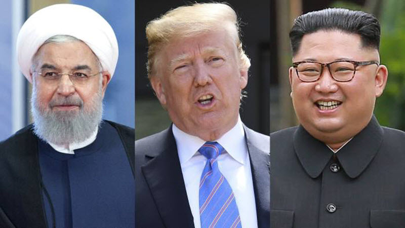 Iranian president Hassan Rouhani, US president Donald Trump and North Korean supreme leader Kim Jong Un