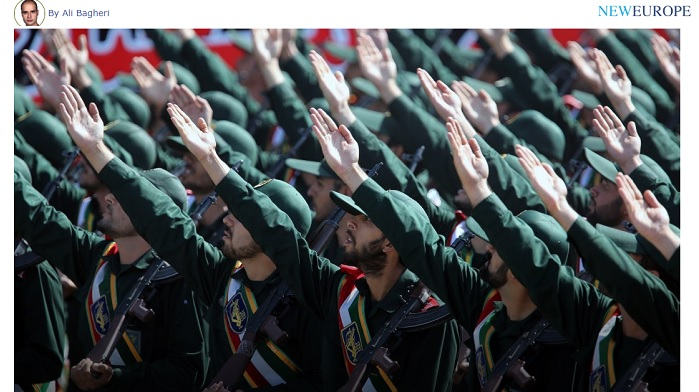 Credit to New Europe: IRGC's extremist forces, during a parade in Iran. IRGC has been the main force of repression and terrorism in Iran and the region.