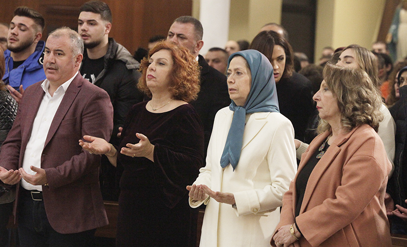 The President-elect of the National Council of Resistance of Iran (NCRI), Mrs. Maryam Rajavi, attended on Tuesday, December 24, 2019, the ceremonies marking the birth of Jesus Christ in Metropolitan Archdiocese of Tirana- Durres.