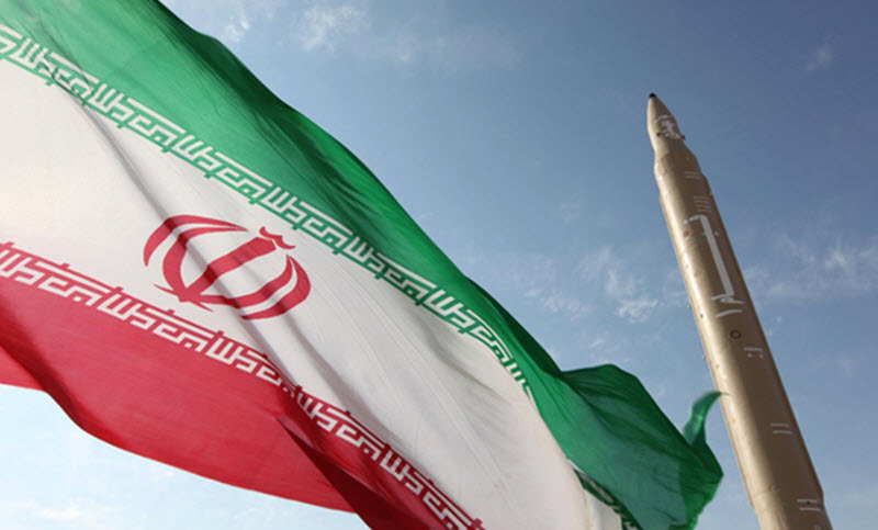 A picture of Iranian flag and ballistic missile