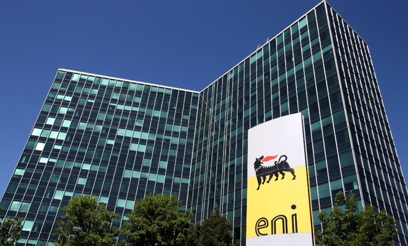 Eni's logo is seen in front of its headquarters in San Donato Milanese, near Milan, Italy