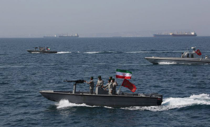 Iranian troops in the Strait of Hormuz