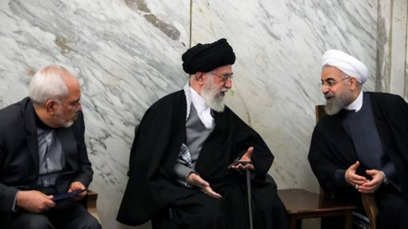 Mohammad Javad Zarif, the Iranian Foreign Minister and President Hassan Rouhani and Iran regime's Leader, Ali Khamenei