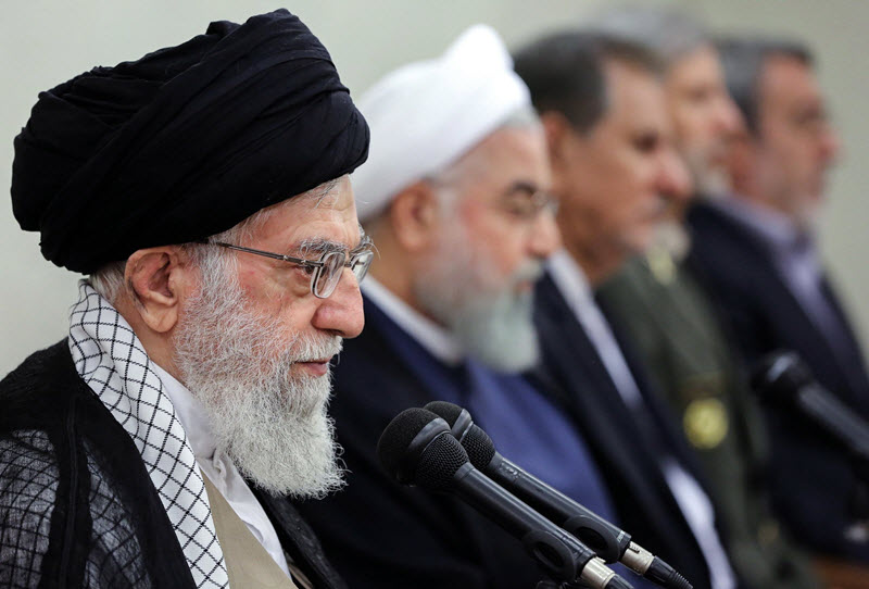 A handout picture shows Iran's Supreme Leader Ayatollah Ali Khamenei speaking during a government meeting in Tehran