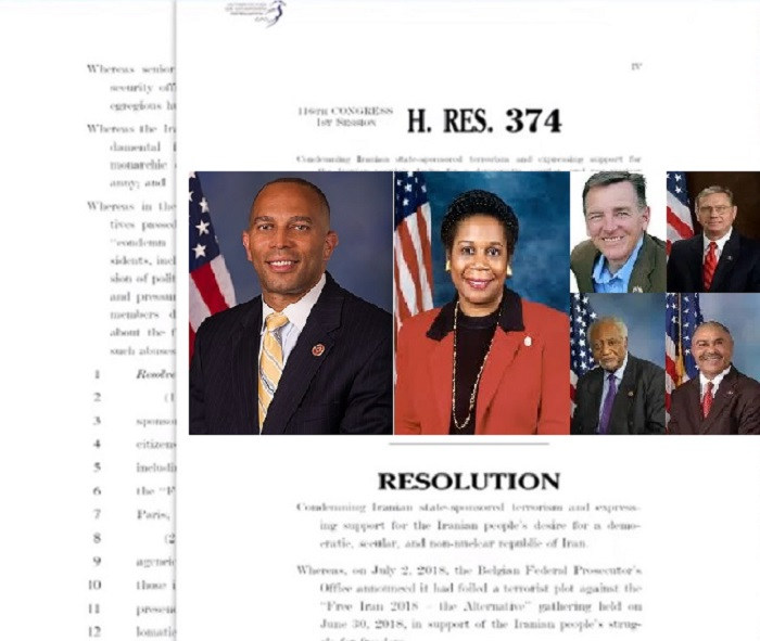 110 members of the U.S. Congress from both Democrat and Republican parties co-sponsored a resolution condemning the Iranian regime's terrorism in Europe, particularly the terror plots against the main opposition group the MEK