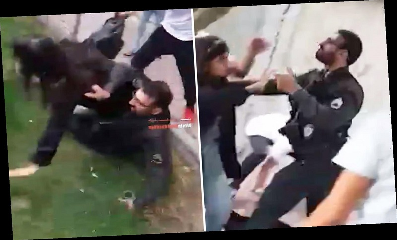 A video published by Britain's Sun on November 1, 2019 shows an angry male Iranian State Security Force officer roughly grabbing an unsuspecting teenage girl and forcefully flinging her on to the ground