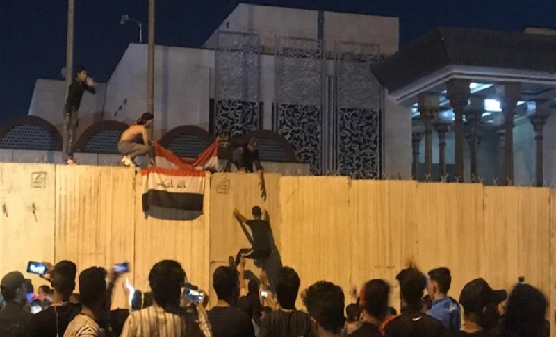 Dozens of Iraqi protesters attacked the Iranian consulate in Karbala on Sunday November 3 2019.