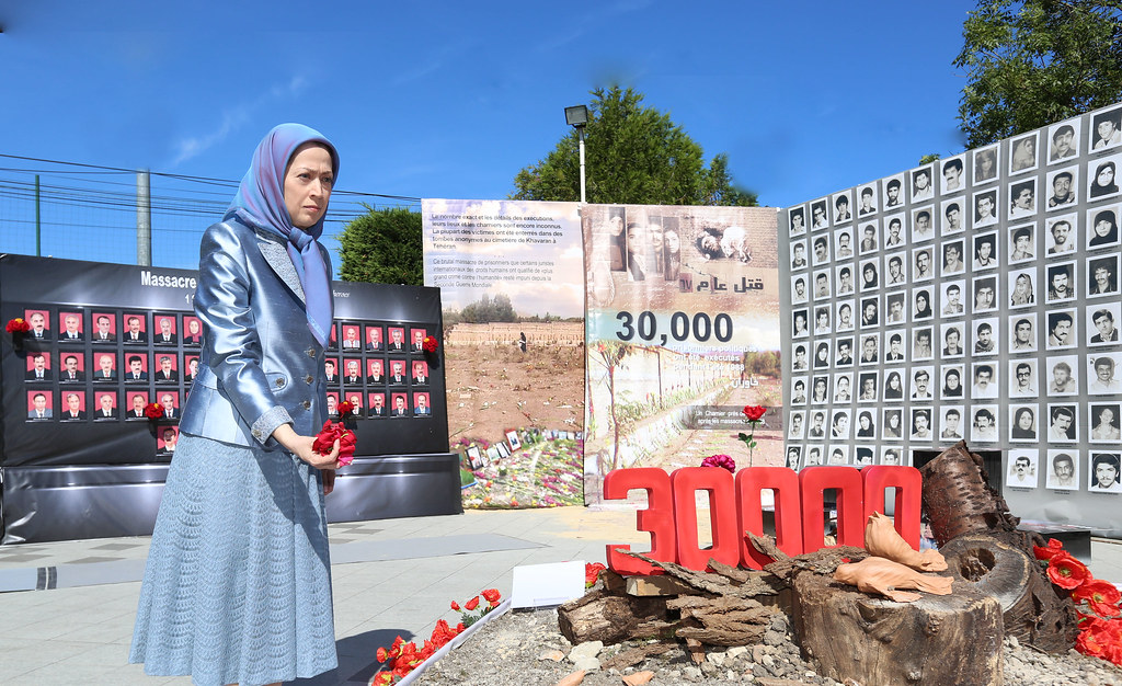A monument in memory of 30,000 political prisoners who were murdered during the 1988 massacre, by the Iranian regime. Most of those executed were members and supporters of the Mujahedin-e Khalq. Maryam Rajavi, the President-elect of the Iranian resistance, is shown, paying tribute to the martyrs-September 3, 2016-Auver sur Oise, France