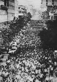 Mujahedin-e Khalq, peaceful demonstration against the reign of terror and suppression in Iran. On June 20, 1981, more than 500,000 supporters of MEK took to the streets of Tehran to protest the growing repression by the ruling mullahs. The demonstration turned in to a blood bath, as the Basij and IRGC forces opened fire in to the crowed based on direct fatwa from then, Supreme Leader, Rouhollah Khomeini.