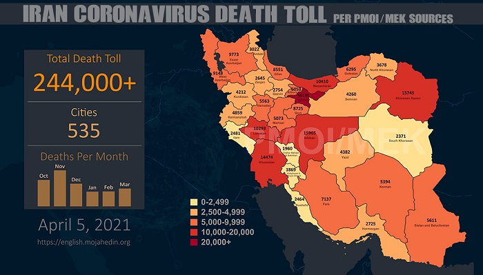 Coronavirus death toll in 535 cities exceeds 244,000