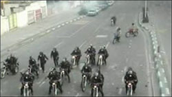Basij Forces riding motorcycles in Tehran streets in groups to stop the election unrest