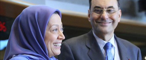 Iranian Opposition Leader Maryam Rajavi (left) and Vice President of the European Parliament Alejo Vidal-Quadras (right)