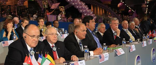 Listening to Mrs. Rajavi's speech, from left to right, Mayor Giuliani, Judge Mukasey, Gov. Rendell, Gov. Richardson, Ambassador Bolton, Senator Torricelli, Phillip Crowley, General Casey, and General Conway