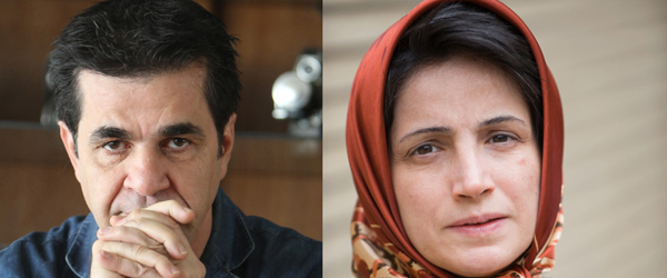 Lawyer Nasrin Sotoudeh right and filmmaker Jafar Panahi, left - winners of Andrei Sakharov Prize for Freedom of Thought, 2012