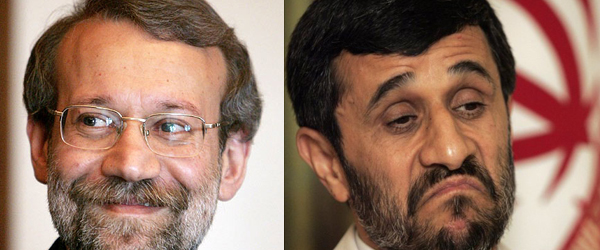 Ali Larijani (left) and Mahmoud Ahmadinejad (right)