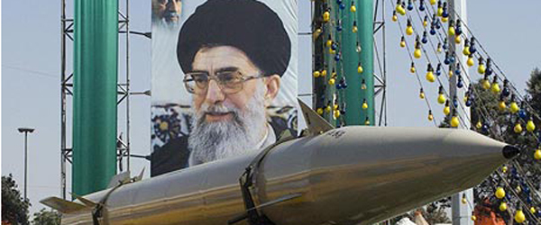Iran displaying missile in front of supreme leader Ali Khamenei's picture