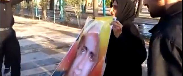 Sattar Beheshti's mother protesting her son's death