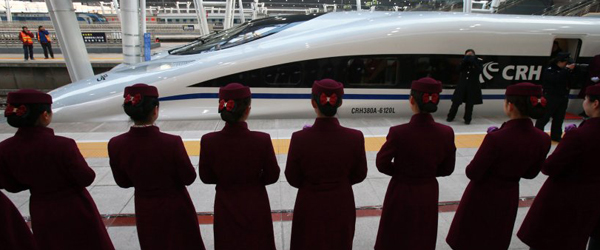 Grand opening celebration of the new high-speed train service in China